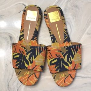 Dolce Vita Size 7 Tropical Print Canvas Sandals